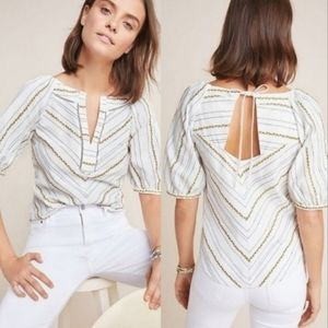 Anthropologie Maeve Embroidered Fruit Blouse 12
